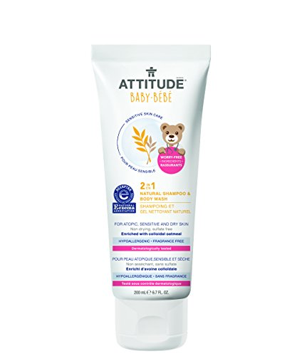 Attitude 2-in-1 Natural Shampoo & Body Wash Baby, Fragrance Free, 6.7 Fluid Ounce ()