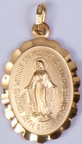 Médaille Miraculeuse. Or 9carats Médaille Miraculeuse. Or Médaille Notre Dame