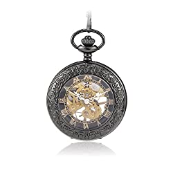 Sinopic Hunter Case Pocket Watch for Men or Women with Vintage Gold Roman Numerals Skeleton Black Dial