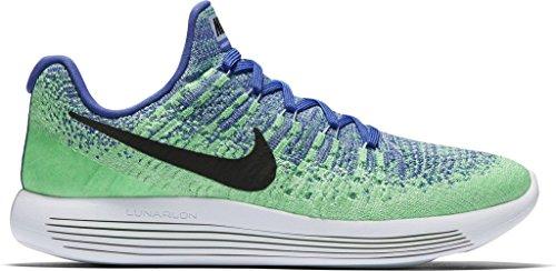 Women's Nike LunarEpic Low Flyknit 2 Running Shoe MEDIUM BLUE/BLACK-ALUMINUM-ELECTRO GREEN 9.5