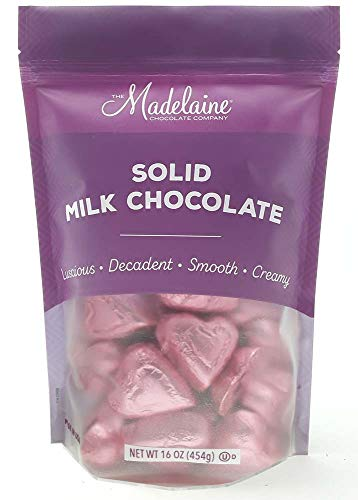 Madelaine Solid Premium Milk Chocolate Mini Hearts - Valentines Candy - Individually Wrapped In Italian Foil (Pink Candy, 1 LB) ()