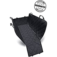 Three-way Car Seat Cover - BONUS Interior Side Door Protection - Convertible Hammock Style - Free Car Safety Belt & Collar Light - Pet Seat Cover Fits Most Cars, SUVs & Vans - Water Resistant