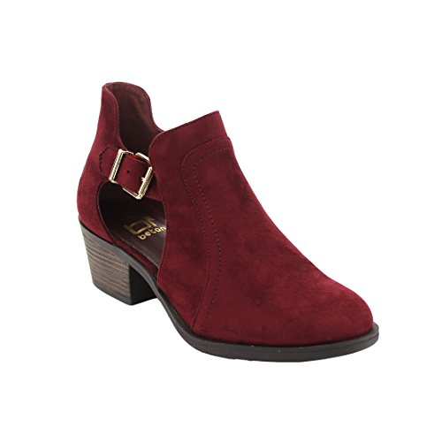 Chunky Strap Wine Heel Out Side Ankle Stacked Buckle BETANI Boot Women's Cut 0HBgq