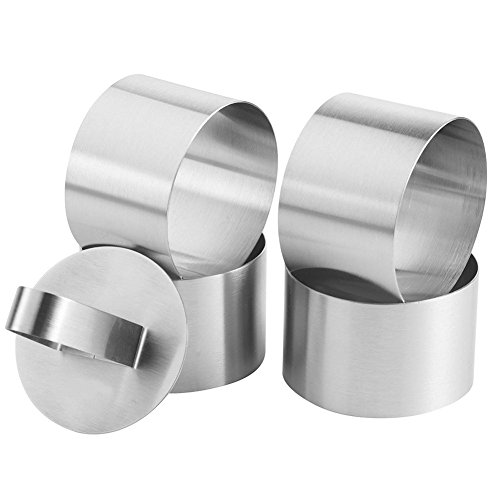 - Kanggest Cake Molds Stainless Steel Mini Baking Mold Cake Rings Cake Mousse Mold with Pusher for Desserts Making, 3