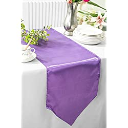 "Wedding Linens Inc. 3 PCS 13.5"" x 108"" satin table Runners Table Runner Cover Linens for Wedding Decoration Party Banquet Events - Victoria Lilac"