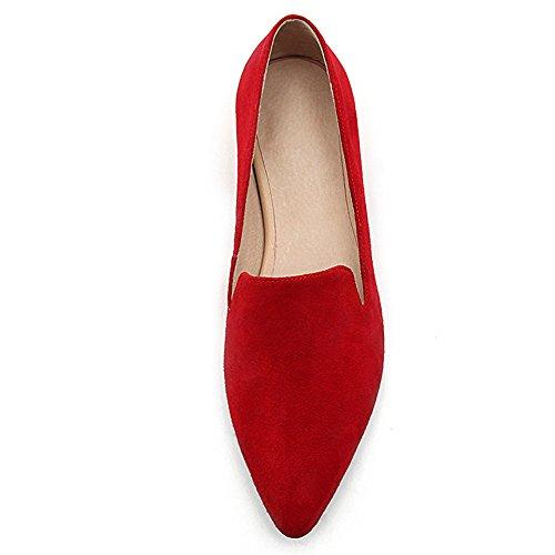 Nine Seven Cuero Moda Puntiagudos Bailarinas Planos Cómodos con Perlas para Mujer Rojo