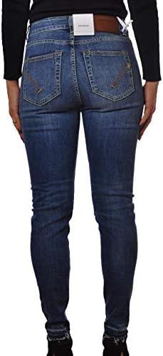 Laphilo Pantalone Jeans Donna Bottone a Perla e Graffi Ricamati cod. V892