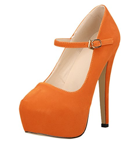 Platform Pumps Pumps Buckle Wedding Mary Women Heel High Orange HooH Flannel Jane wvqgtq
