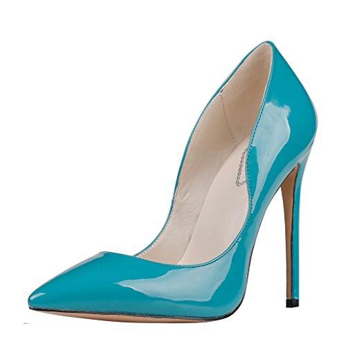EKS - Zapatos de Tacón Mujer Azul - Blau-Lackleder