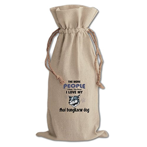 Canvas Wine Drawstring Bag More People Meet Love Thai Bangkaew Dog by Style in Print
