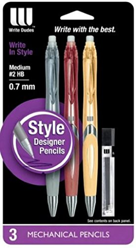 Write Dudes 3 Mechanical Pencil Pack 0.7 mm with Refills (Silver (Gray), Copper Rust, Gold) -