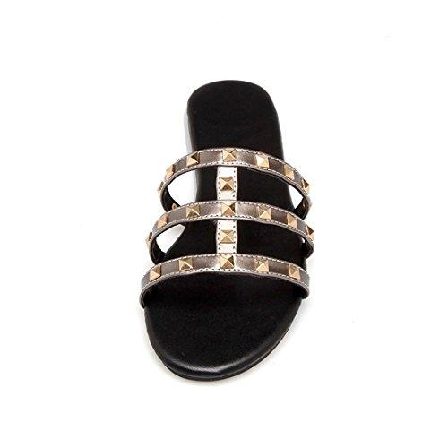 Zapatos Flat Mujer Summer Spring de Estudiante de Gray Zapatillas Rivet AIKAKA R7qXd4w4