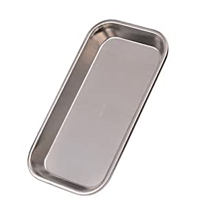 Healifty Stainless Steel Trays Foodservice Tray Serving Party Platters Dental Medical Flat Lab Snack Towel Instrument Tray