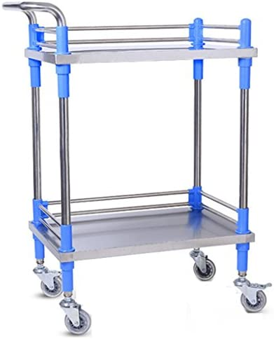 ALUP- 医療トロリー二重層ステンレススチール医療手の車の器械取り外し可能なサイレント四輪美容車の手術車両実用車両 - ツールカート (サイズ さいず : S-60*40*86cm)