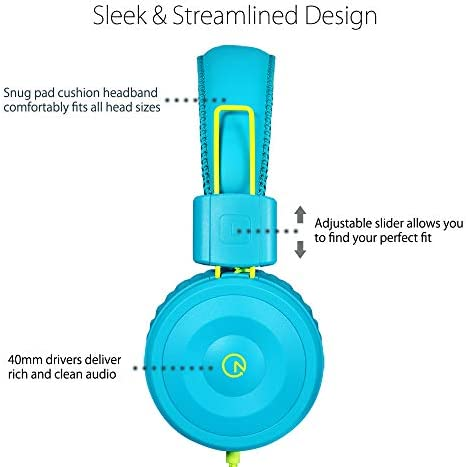 Kids Headphones-Noot Products K22 Foldable Stereo Tangle-Free 5ft Long cord 3.5mm Jack Plug in Wired On-Ear Headset for iPad/Amazon Kindle,Fire/Boys/Girls/Laptop/School/Travel/Plane/Tablet (Teal/Lime)