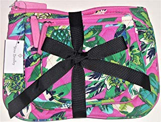 Vera Bradley Cosmetic Trio Tropical Paradise with Solid Blue Lining