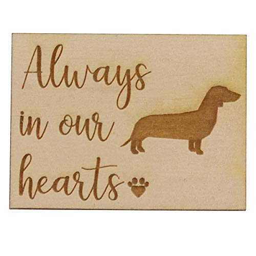- Always in Our Hearts with Dachshund Dog - Memorial Refrigerator Magnet, Engraved Wood 2
