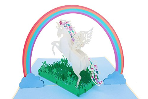 PopLife Unicorn & Rainbow Pop Up Greeting Card for All Occasions - Mothers Day - Daughter Happy Birthday - Daughter Gift - Animal Lovers - Rainbow Theme - 3D Magic Creatures - Folds Flat for Mailing