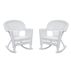 Jeco W00206R-B_2 Rocker Wicker Chair, Set of 2, White