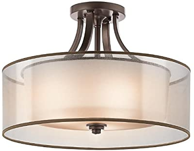 Kichler 42387MIZ, Lacey Round Glass Semi Flush Ceiling Lighting, 4 Light, 400 Watts, Mission Bronze