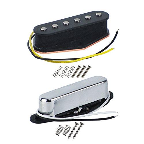 FLEOR Alnico 5 Guitar Pickups Set Tele Bridge Pickup w/Neck Pickup (Chrome) Fit Fender Telecaster Pickups Part
