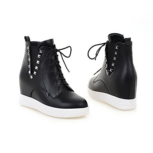 Boots Microfiber Round Low Solid top Women's Black Toe Closed High AmoonyFashion Heels FqzvwxCz