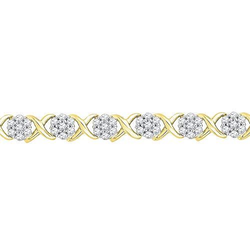 10k Yellow Gold Diamond Flower Cluster Fashion Bracelet 1/4 ct ()