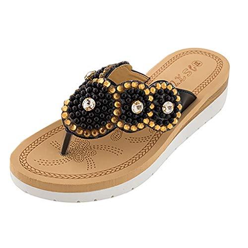 New in Respctful✿Women's Bohemian Summer Platform Wedge Beach Flip Flop Toe High Heel Thong Sandals Black