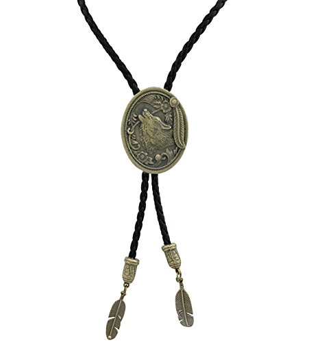 selovo-antique-gold-color-western-wolf-shout-bolo-tie-feather-dangle-pu-leather-bolotie-for-men
