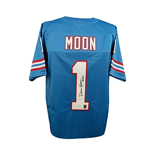 Warren Moon HOF Autographed Houston Oilers Custom Blue Football Jersey - JSA COA