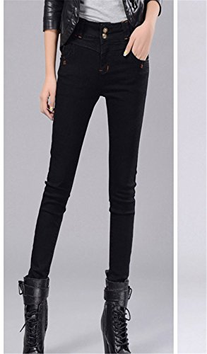 Attillati Primavera Pantalone Autunno Pantaloni Jeans Pants Stretch tapered up DaBag Donna Alta Push Nero Vita fPqnwUTz