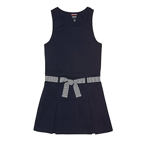 French Toast Big Girls' Belted 2-Pleat Jumper, Navy, 10 School Uniform Jumper Dress