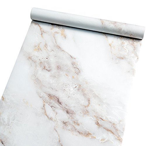 Marble Contact Paper Film Peel and Stick Countertops Vinyl Wallpaper Sticker, Authentic White Granite Look, Durable,Waterproof for Home and Office by Homein