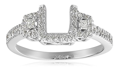 14k White Gold Round and Princess Diamond Solitaire Engagement Ring Enhancer (1/4 carat, H-I Color, I1-I2 Clarity), Size (White Gold Contour Engagement Ring)