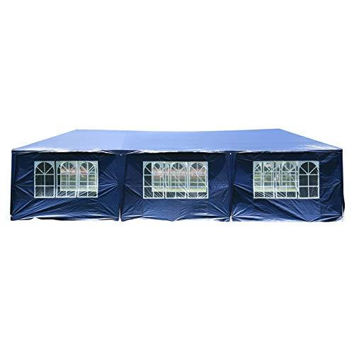 MCombo10x30FeetOutdoorCanopyTentWeddingPartyWaterproofInstantGazebo Pavilion with8 RemovableSidewalls6053 (Blue) Blue Canopy New Gazebo