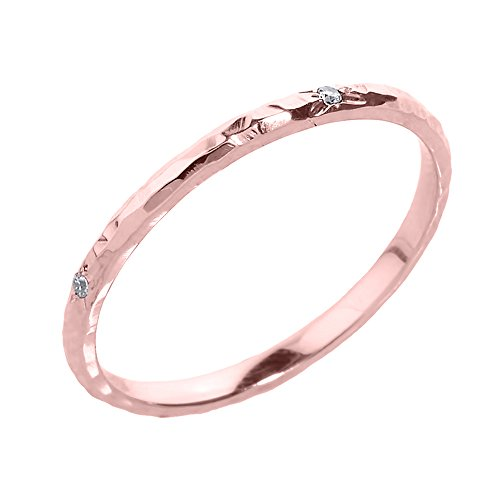(Modern Contemporary Rings Dainty 10k Rose Gold Pink Hammered Band Stackable Diamond Ring (Size 7))
