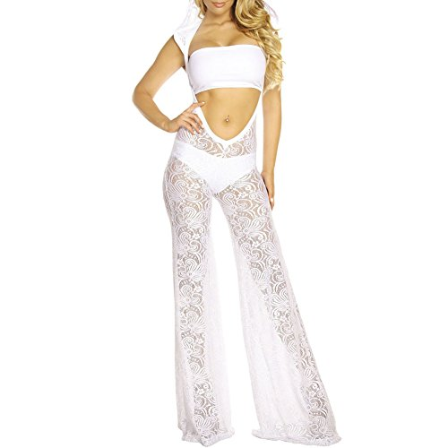 Eiffel Women's 3pcs Hooded Strapless Sheer Lace Hollow Out Pant Jumper Ropmer Set White