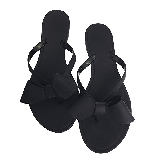(Mtzyoa Women Stud Bow Flip-Flops Sandals Beach Flat Rivets Rain Jelly Shoes)