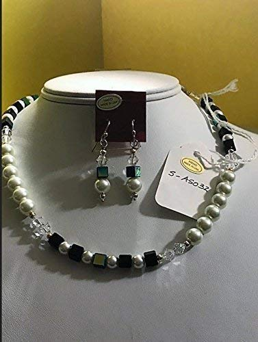 Pearl Cube Beads - Limited Edition. Pearl and blue cube bead necklace and earrings set