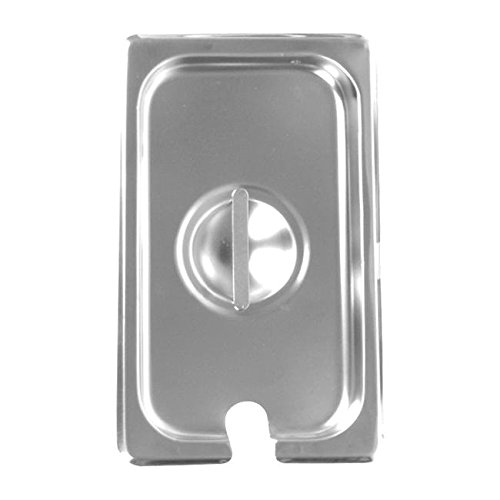 Steam Table Pan Cover, 1/3 Size, Slotted With Handle, 18/8 Stainless Steel, 23 Gauge, Nsf (12 Pieces/Unit)