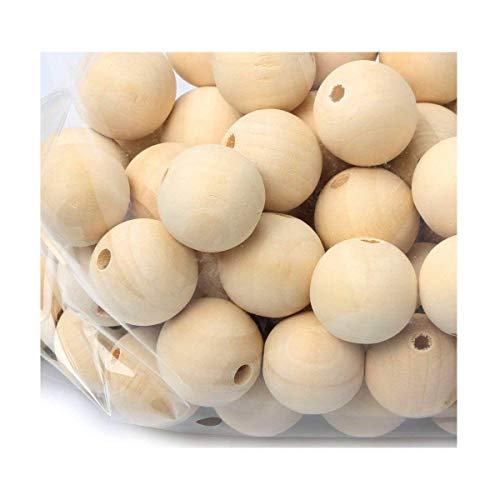 3/4Wooden Beads 60pcs Natural Round Loose Spacer Beads for Painting Beading Project Supplies Jewelry Making Findings Charms(4mm Hole)