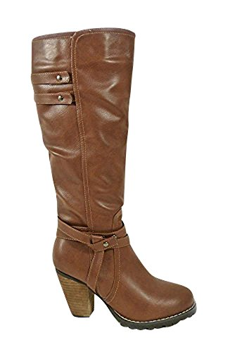Womens Ladies Mid Calf Zip Fashion Studs Riding High Block Heel Boots Shoes Size 3-8 Brown (1255) rlbwcTGFFn