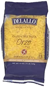 DeLallo Gluten Free Corn and Rice, Orzo, 12-Ounce (Pack of 12)