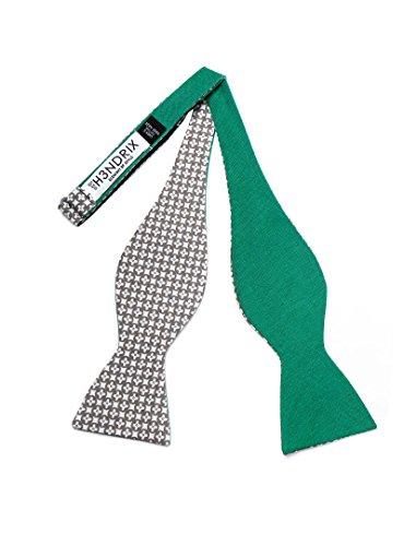 H3NDRIX Reversible Bow Ties (Hunter Green Phillips Dot Mosaic) (Mens Tie Reversible)