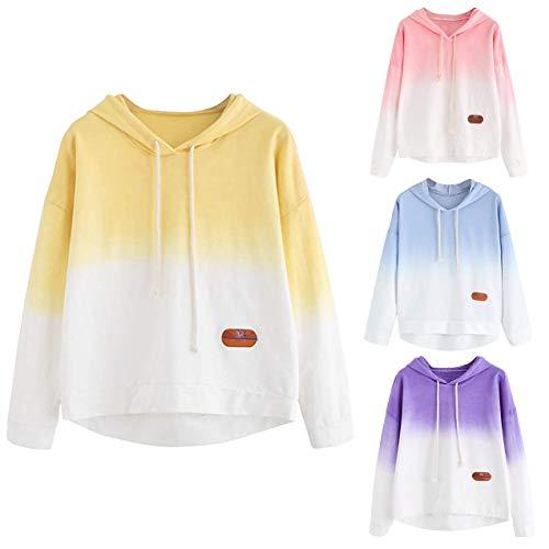 Casuale Giallo Manica Autunno Sweatshirt Tops Elegante Pullover felpa Sweater Cappotto Gradiente Donna Stampare Felpe Lunga Top Corta Byste Sportiva xqBzUgYwx