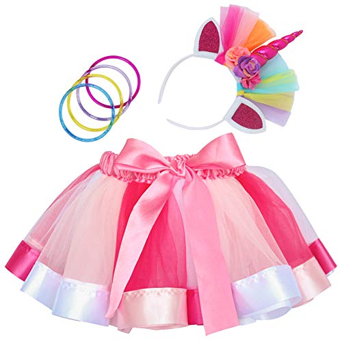 Rainbow Tutu Dress Birthday Outfit for Little Girls with Headband and Bracelets (Rose Rainbow, M, 2-4T)