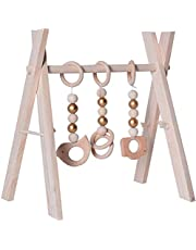 ZSQSM Wooden Baby Gym with 3 Wooden Baby Toys Foldable Height Adjustable Wooden Play Arch Foldable Baby Fitness Trainer Frame
