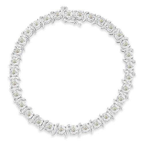 (Original Classics Sterling Silver 1ct. TDW Rose-Cut Diamond S-Curve Bracelet (I-J, I3-Promo))