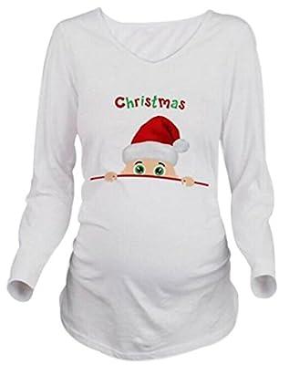 Women Long Sleeve Maternity T-Shirt Christmas Peeking Baby Funny Pregnancy Tee