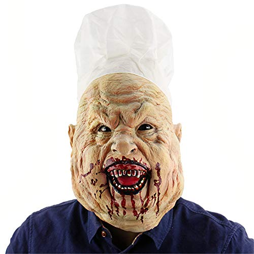 TTXST Halloween Mask Bloody Crazy Chef Mask Halloween Horror Mask Latex Headgear Mask Haunted House Dress UP Props Costume Fancy Dress Party